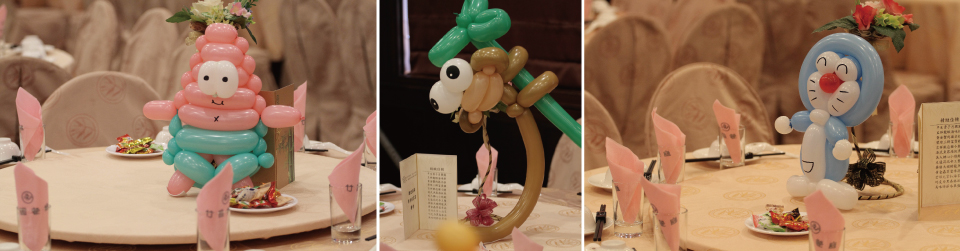 而這些可愛的造型氣球都是米爾可的氣球小丑先生折出來的噢